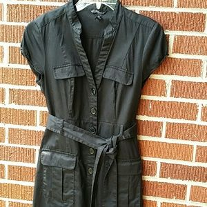 H&M Black Button Down Belted Dress Size 10